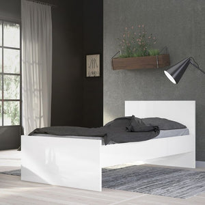 Naia Single Bed 3ft in White High Gloss - The Home Collections