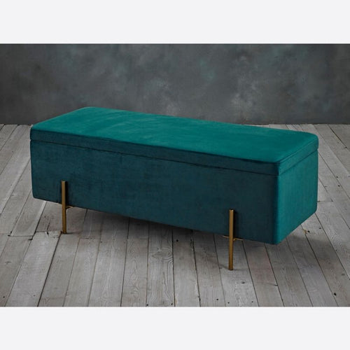Lola Storage Ottoman Teal - The Home Collections