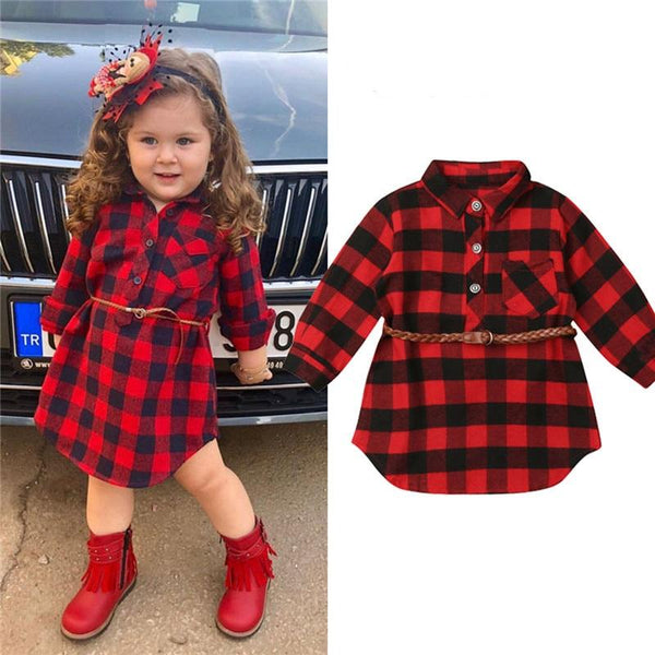 0-5T Christmas Toddler Newborn Kids Baby Girls Dress Red Plaid Cotton Princess Party Long Sleeve Dress Clothes Girl Winter Dress - Olanquan Fashion Boutique