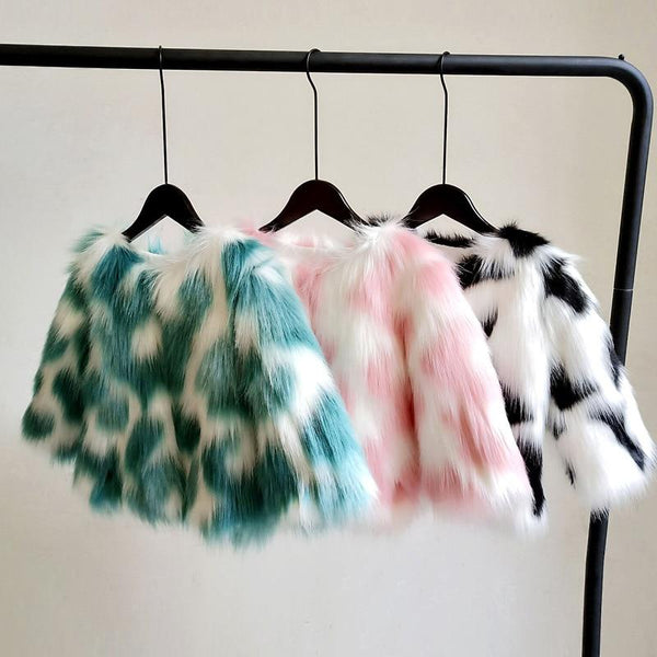 2019 Winter coat for kids /Kid's multicolor faux fur jacket / Baby girl glam faux fur coat / Girls coat - Olanquan Fashion Boutique