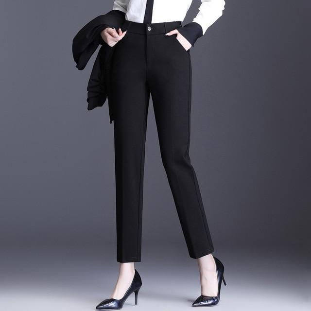 Autumn Spring Office Ladies Business Casual Formal Dress Pants Women Black Grey White Skinny Suit Pants Womens Slim Work Trouser - Olanquan Fashion Boutique