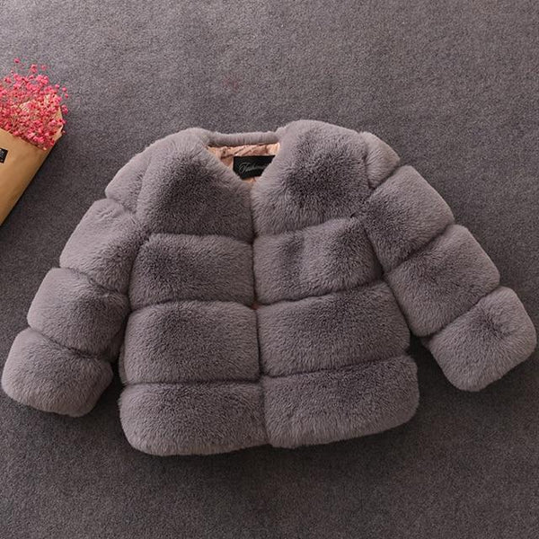 Baby Girls Faux Fur Coat Winter Children Girls Long Sleeve Christmas Jacket Warm Kids Girls Snow Coat Girls Outerwear Clothing - Olanquan Fashion Boutique