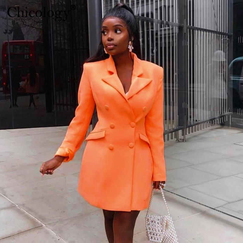 Chicology neon pocket double breasted blazer long sleeve slim elegant coat jacket women 2019 autumn winter lengthen windbreak - Olanquan Fashion Boutique