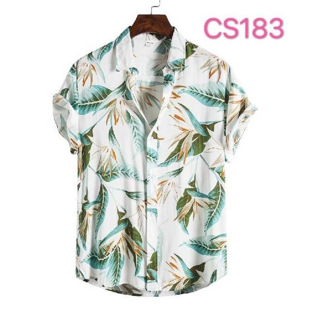 Fashion Dot Mens Hawaiian Beach Shirts 2020 Summer New Short Sleeve Floral Print Tropical Aloha Shirts Holiday Vacation Clothing - Olanquan Fashion Boutique