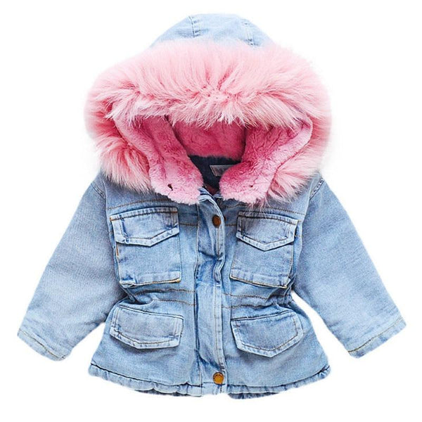 Girls Clothing Baby Coats for Girls Fur Collar Jackets For Winter Autumn Kids Clothes Plus Velvet Thick Denim Children Outerwear - Olanquan Fashion Boutique