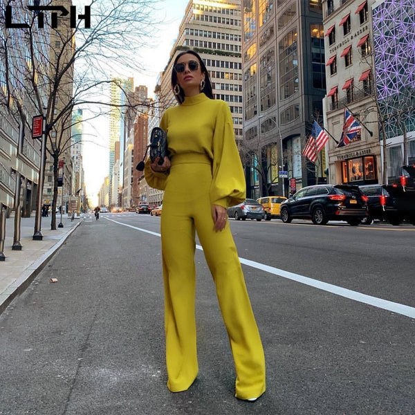 Hot sale 2019 autumn and winter new women jumpsuit Solid knit straight Ful sleeve lhigh collar hollow backless Long Siamese suit - Olanquan Fashion Boutique