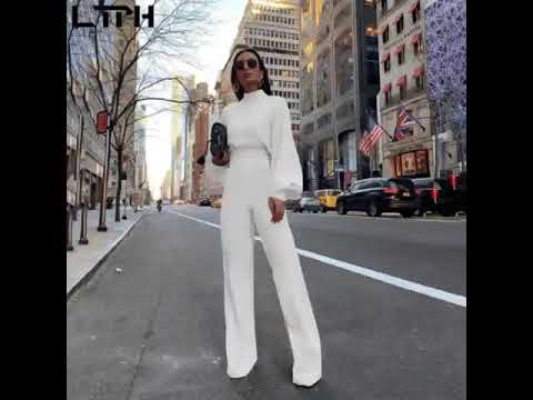 Hot sale 2019 autumn and winter new women jumpsuit Solid knit straight Ful sleeve lhigh collar hollow backless Long Siamese suit