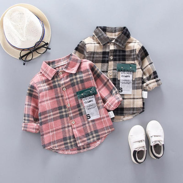 IENENS Kids Shirt Clothes Spring Thin Blouses Clothing Infant Boy Plaid Cotton Tops 1 2 3 4 Years Kids Long Sleeves Shirt - Olanquan Fashion Boutique