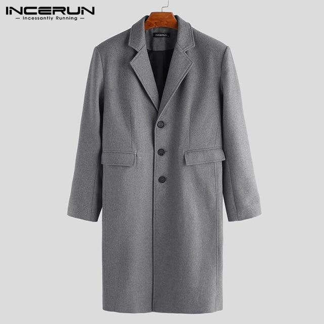 INCERUN Winter Men Coats Woolen Solid Long Sleeve Jackets Fleece Men Overcoats Streetwear Fashion Long Trench Outerwear 2020 5XL - Olanquan Fashion Boutique