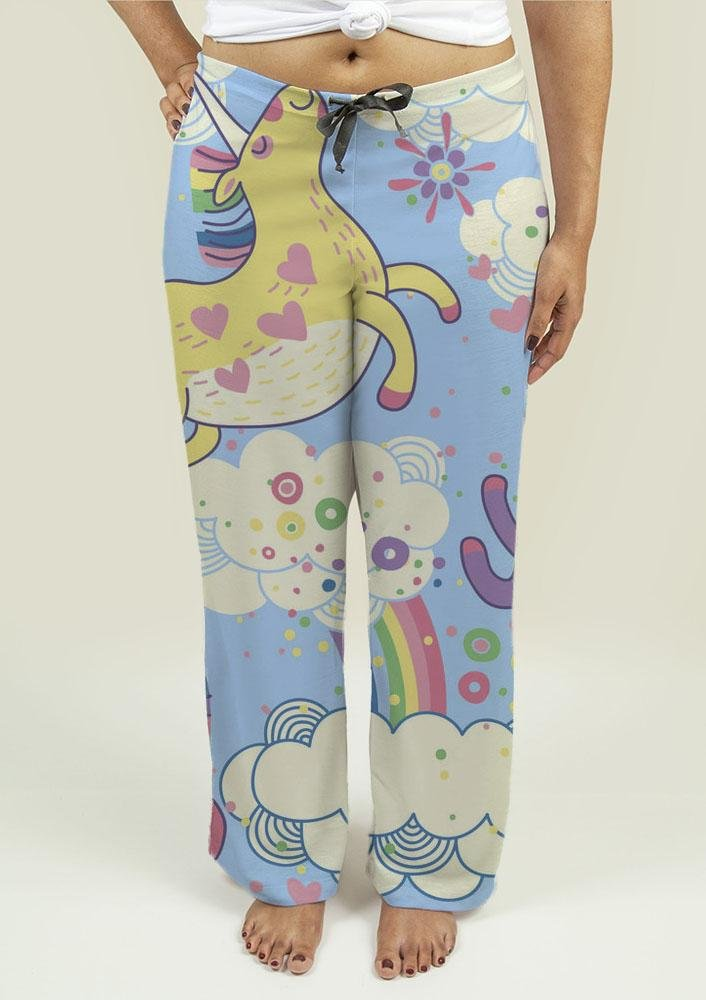 Ladies Pajama Pants with Rainbows and Unicorns in the Clouds - Olanquan's Fashion Boutiques