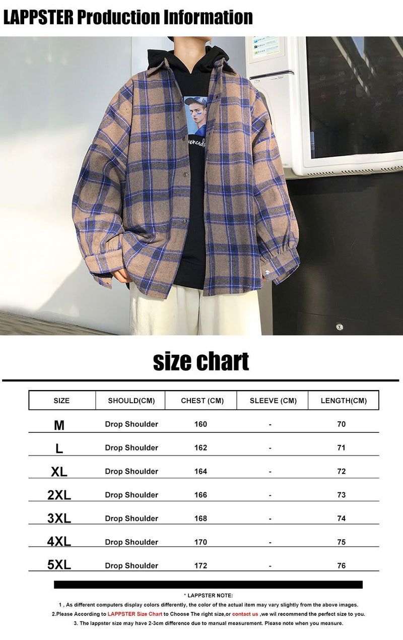 LAPPSTER Men Harajuku Color Block Plaid Shirt 2020 Mens Streetwear Thick Shirts Long Sleeve Male Vintage Korean Fashions Clothes - Olanquan Fashion Boutique