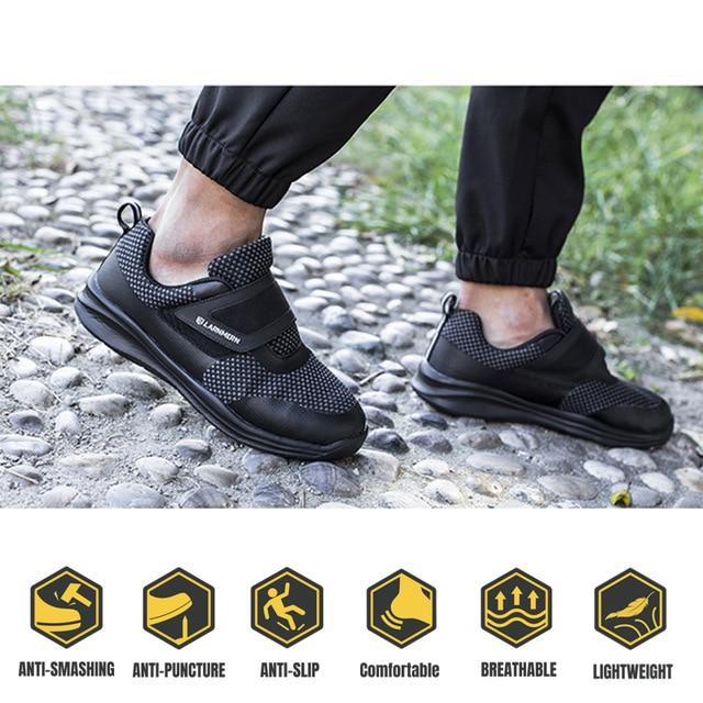 LARNMERN Men's Work Safety Shoes Steel Toe Construction Sneaker Breathable Lightweight Anti-smashing Anti-static Non-slip shoe - Olanquan's Fashion Boutiques