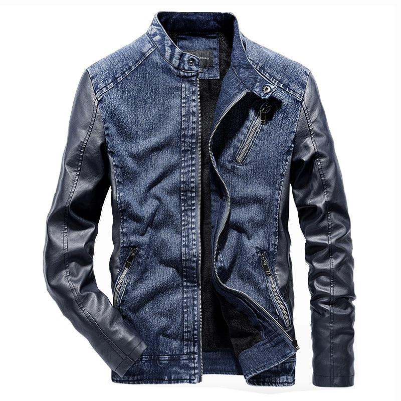 Loldeal Men's Fleeced Denim Jacket Winter Fall Warm Cowboy Coat Outerwear Parka Leather Sleeve Patchwork - Olanquan's Fashion Boutiques