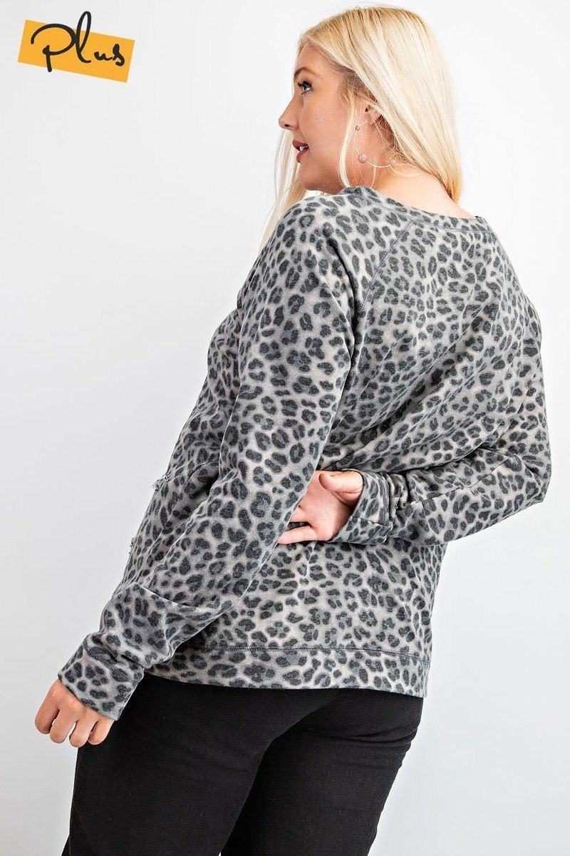 Long Sleeve Leopard Printed Terry Knit Pullover - Olanquan's Fashion Boutiques