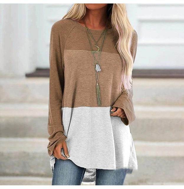 Lossky T Shirts Plus Size Tops Vogue Women Long Sleeve Color Stitching Casual Fall Clothes Oversized Tee Shirt Femme 2019 Blusas - Olanquan's Fashion Boutiques