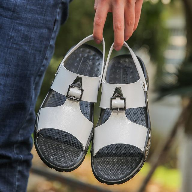 Men Fashion Sandals Men's Slippers Leather Shoes Summer Beach Sandals Casual Soft Men Shoes Flip-Flops Zapatos Big Size 38-47 - Olanquan's Fashion Boutiques
