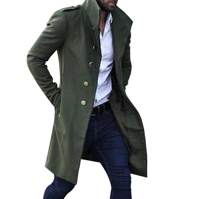 Men Slim Trench Casual Male Coat Long Windbreaker Vintage Blends Coats Men's Medieval Renaissance Gothic Steampunk Capelet Cloak - Olanquan's Fashion Boutiques