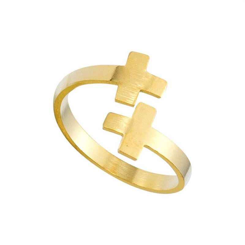 Modern Anillo Double Cross Ring Women Men Romantic - Olanquan's Fashion Boutiques
