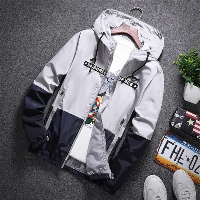 NaranjaSabor 2020 Men's New Jacket Colorful Spring Autumn Jacket Men's Patchwork Hood Coat Slim Fit Brand Clothing S~4XL N568 - Olanquan's Fashion Boutiques