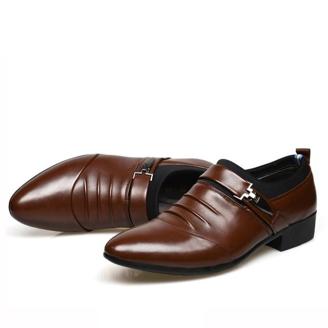 New British Men's Slip On Split Leather Pointed Toe Men Dress Shoes Business Wedding Oxfords Formal Shoes For Male 2018 38-48 - Olanquan's Fashion Boutiques