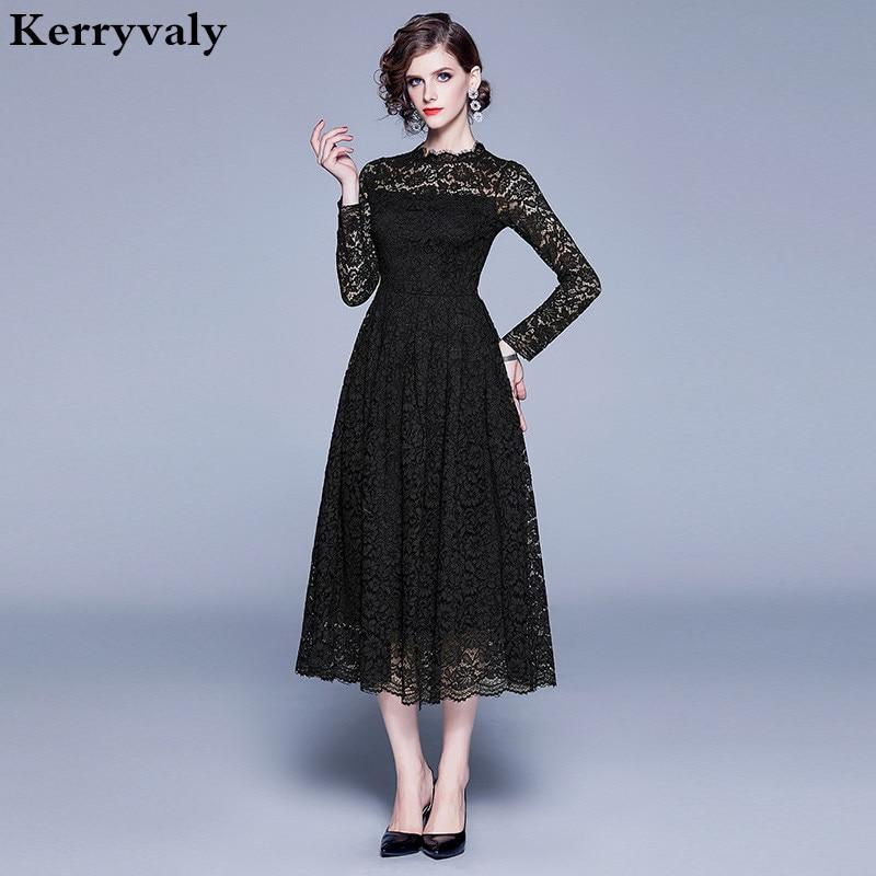 New Fall Hollowed-out Black Lace Dress Zomerjurk Dames 2020 Long Sleeves Midi Women Party Dress Dames Jurken Robe Pull K8315 - Olanquan's Fashion Boutiques