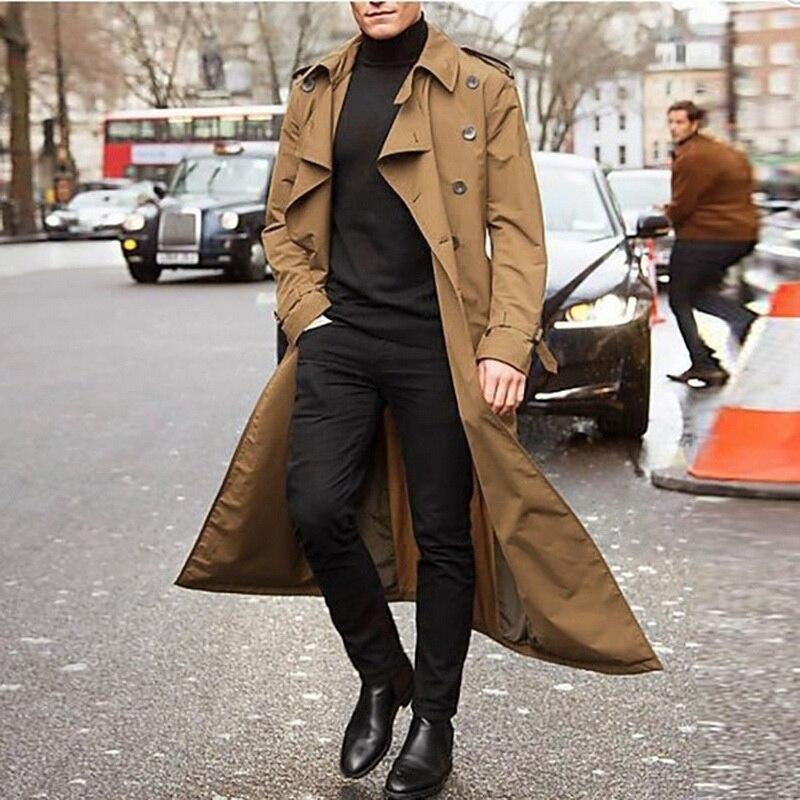 New Long Coat Men Spring Autumn Men's Trench Casual Trench Coat Men Loose British Style Men's Trench Overcoat Streetwear Coat - Olanquan's Fashion Boutiques