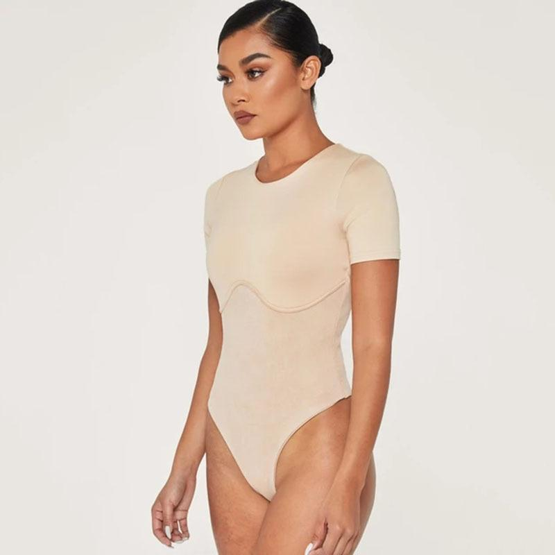 O-neck Short Sleeve Slim Bodysuit - Olanquan's Fashion Boutiques