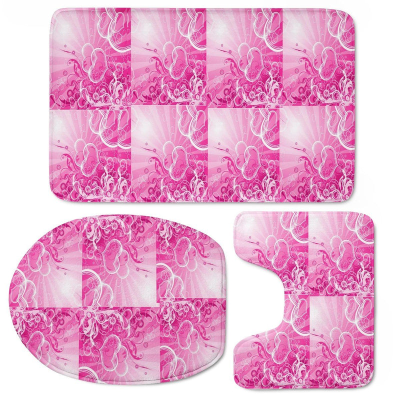 Olanquan Pink Bathroom Mat Toilet Three Pieces Set - Olanquan Fashion Boutique