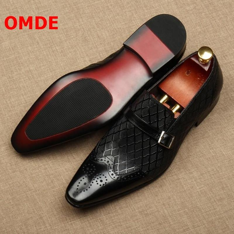 OMDE New Men Dress Shoes Fashion Pointed Toe Buckle Slip On Groom Wedding Shoes Men's Office Shoes Banquet And Prom Shoes - Olanquan's Fashion Boutiques