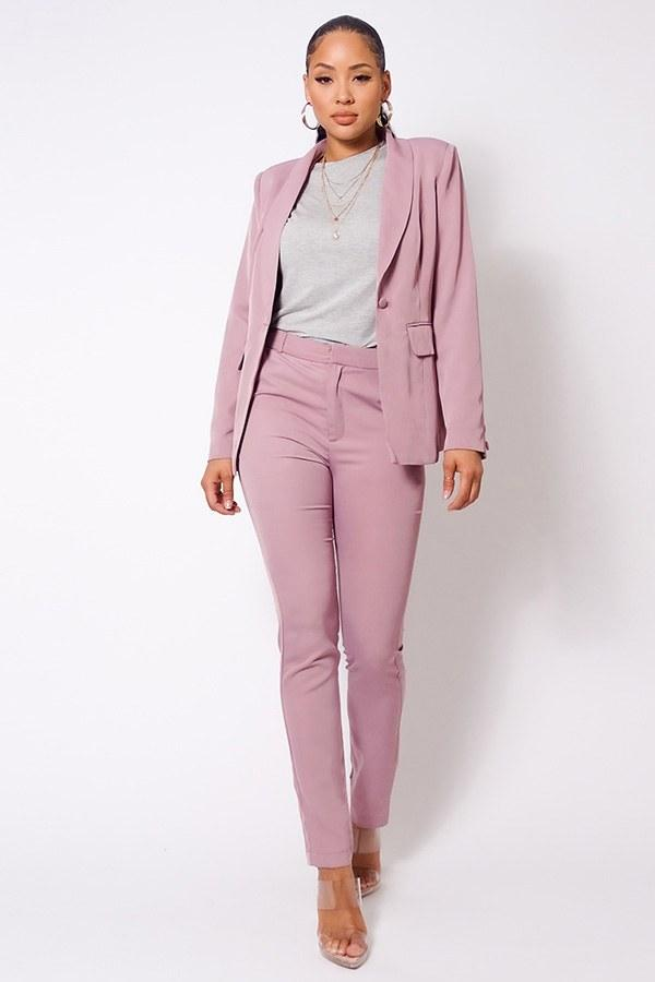One Button Blazer Jacket & Tapered Trouser Set - Olanquan's Fashion Boutiques