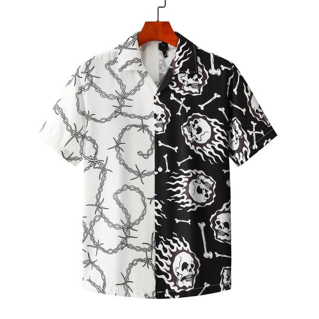 OSCN7 Casual Printed Short Sleeve Shirt Men Street 2020 Hawaii Beach Oversize Women Fashion Harujuku Shirts for Men MX012 - Olanquan Fashion Boutique