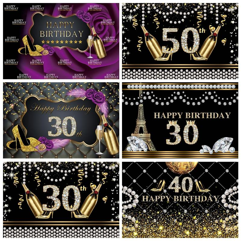Photo Backdrops Happy Fabulous Women Birthday Party 30 40 50th High Heels Party Banner Photo Backgrounds Photocall Photo Studio - Olanquan's Fashion Boutiques