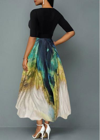 Plunging Neck Tie Dye Print Belted Maxi Dress - Olanquan Fashion Boutique
