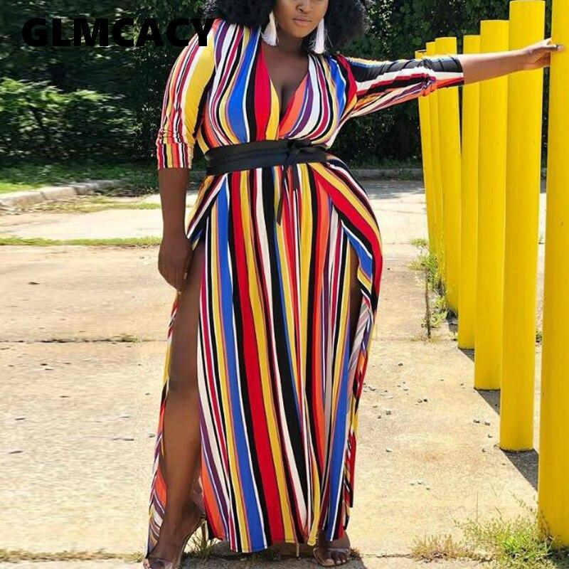 Plus Size 5XL Women Colorful Striped Maxi Dress Loose V Neck High Slit Casual Dress Oversized Sexy Party Dress - Olanquan Fashion Boutique