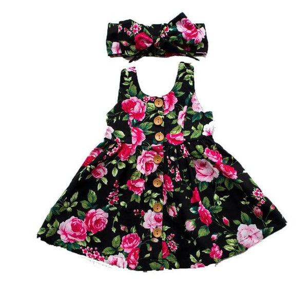 Pudcoco 2019 New Toddler Infant Kids Baby Girls Summer Floral Dress Princess Party Sleeveless Dresses Headband 2pcs 0-4Y - Olanquan Fashion Boutique