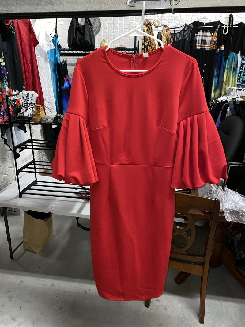 Puff Sleeve Round Neck Red Bodycon Dress. - Olanquan Fashion Boutique