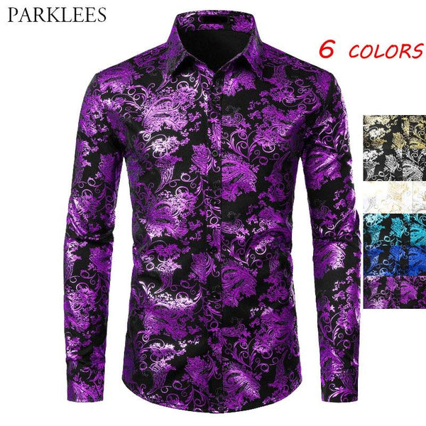 Purple Mens Floral Bronzing Shirt Men Shiny Flower Men Shirt Luxury Fashion Party Mens Dress Shirts Casual Club Camisa Masculina - Olanquan's Fashion Boutiques