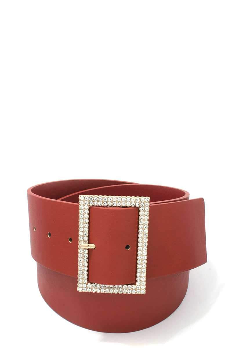 Rhinestone Buckle Pu Leather Belt - Olanquan's Fashion Boutiques