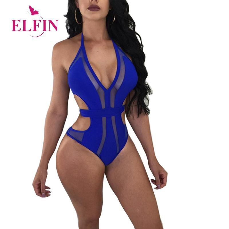 Sexy Blue Rompers Womens Sleevless Jumpsuit Bodysuit Women Black V Neck Streetwear Hollow Out Skinny Womens Clothing SJ1688R - Olanquan's Fashion Boutiques