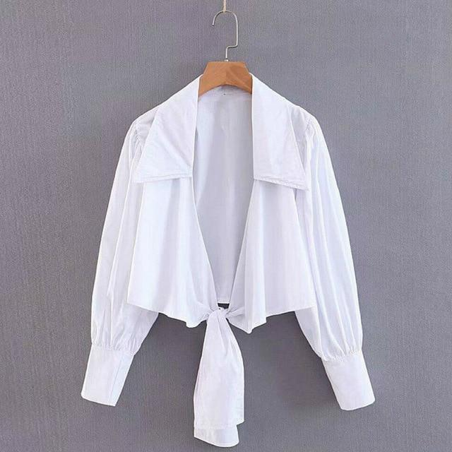 Sexy Crop TopsWomen Fashion Puff Long Sleeve Turn-down Collar Front Bow Tie hort Shirts Top - Olanquan Fashion Boutique