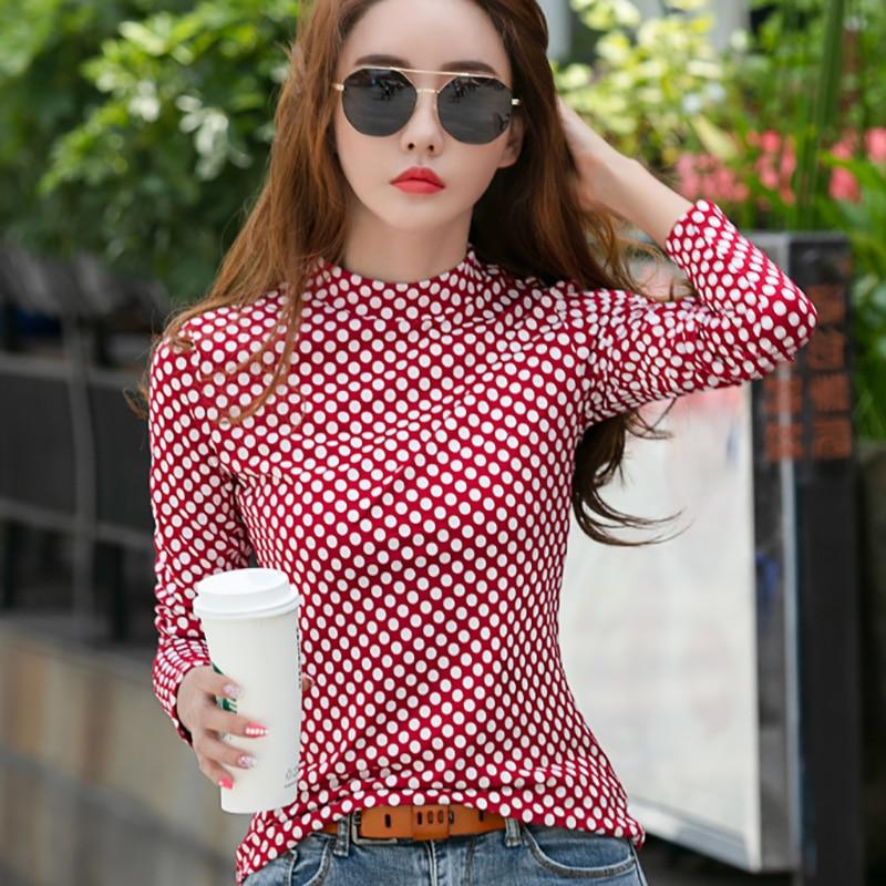 shintimes Red Polka Dot T Shirt Women Clothes 2019 Fall Turtleneck Tshirt Slime Long Sleeve T-Shirt Woman Casual Tee Shirt Femme - Olanquan's Fashion Boutiques