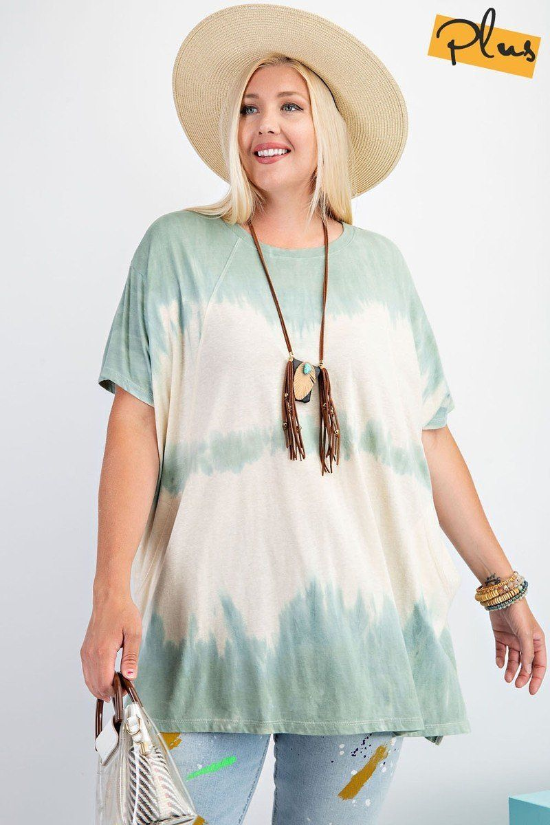 Short Sleeves Wave Washed Sheer Rayon Knit Top - Olanquan's Fashion Boutiques