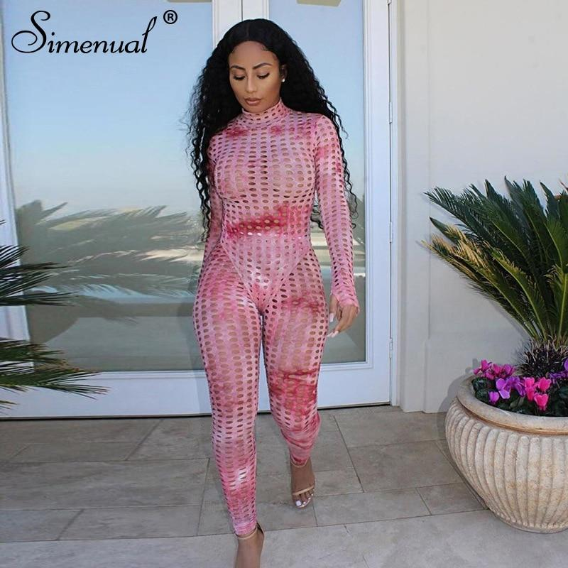Simenual Hollow Out Tie Dye Workout Matching Sets Women Long Sleeve Transparent Fitness 2 Piece Outfits Bodysuit And Pants Set - Olanquan's Fashion Boutiques