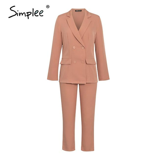 Simplee Two-piece blazer women suits Long sleeve double breasted casual blazer pants set Office ladies elegant pant suits 2020 - Olanquan's Fashion Boutiques