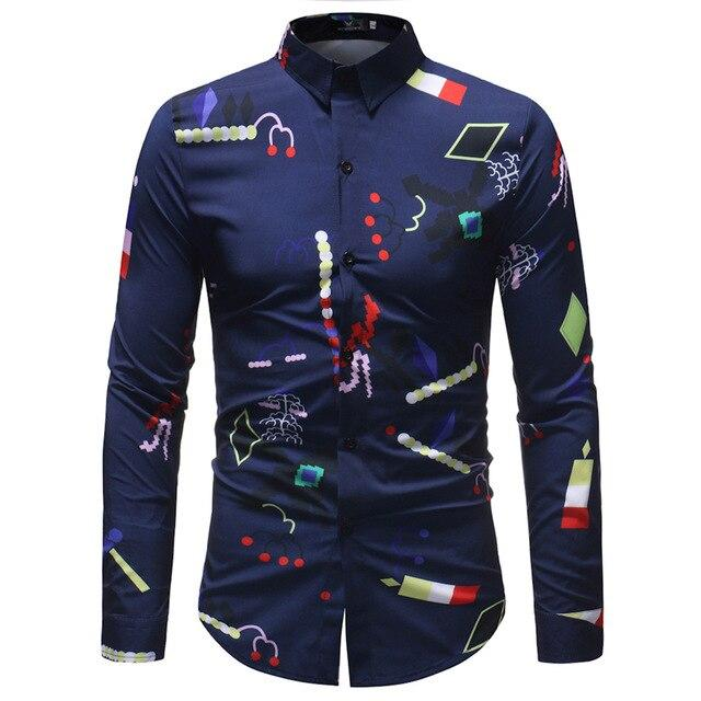 Spring Floral Print Men Shirts Long Sleeve Casual Black Retro Rose Printed Slim Dress Shirts Camisa Masculina Chemise Homme 5XL - Olanquan's Fashion Boutiques