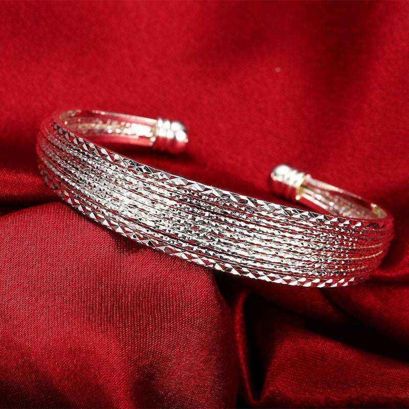 Stacking Mesh Adjustable Cuff Bangle in 18K White Gold Plated - Olanquan's Fashion Boutiques