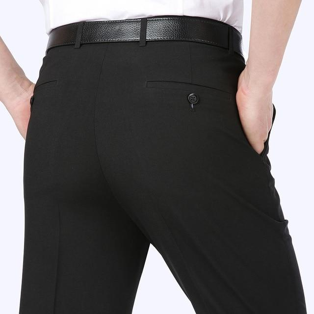 Summer 2020 Wrinkle-Resistant Stretch Suit Pants Baggy Mens Dress Business Casual Pants Office Formal Trousers Big Size 29-44 - Olanquan's Fashion Boutiques
