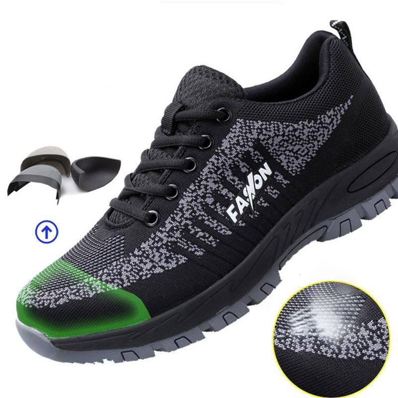 Summer Breathable and Light Safety Shoes for Men Women Composite Steel Toe Puncture Proof Casual Work Shoes Outdoor Sneakers - Olanquan's Fashion Boutiques