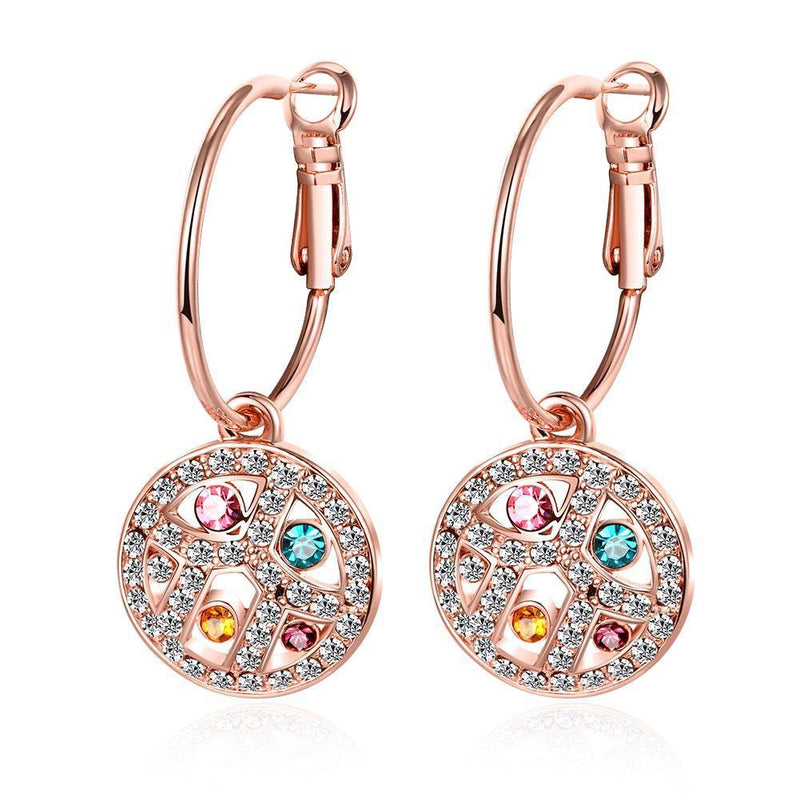 Swarovski Crystal Rainbow Leverback Earring in 18K Rose Gold Plated - Olanquan's Fashion Boutiques