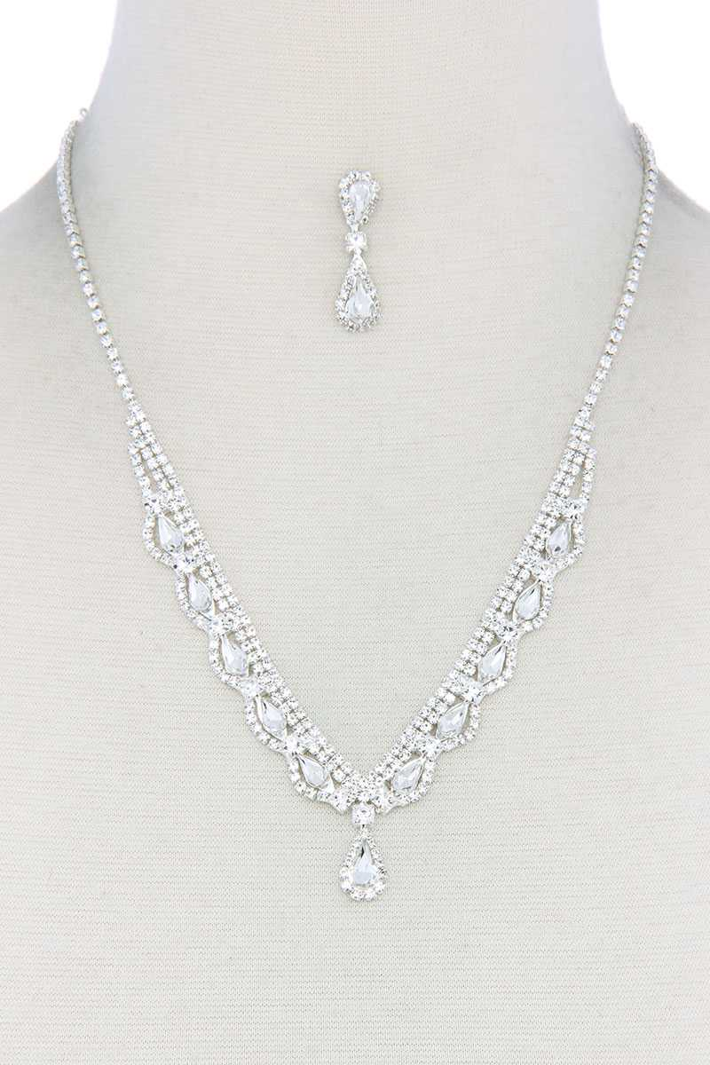Teardrop Shape Rhinestone Necklace - Olanquan's Fashion Boutiques